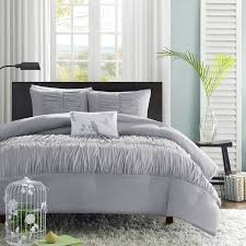 details about beautiful modern grey chic soft ruffle ruched texture duvet cover set king queen