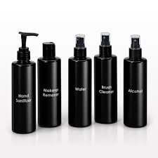 250 ml printed cylinder bottles black with sprayer disc top cap or lotion pump