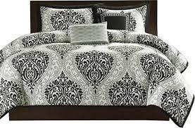 piece black white damask comforter set