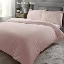 teddy bear fleece blush pink duvet