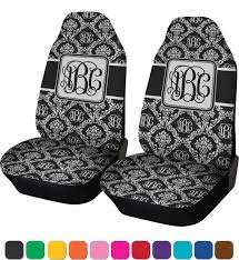monogrammed damask car seat covers set of two personalized