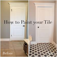 diy how to paint a tile floor this post shows how to prep paint and stencil a floor with ascp then seal with polyurethane remington avenue laundry