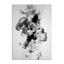 to enlarge 首頁arts black white girl canvas painting poster