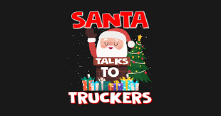 santa talks to truckers gift trucker gifts tapestry