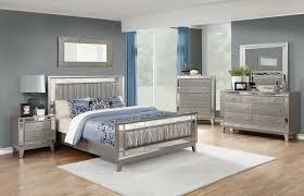 204921q 5 pc lighton collection metallic mercury finish wood faux leather upholstered headboard queen bedroom set