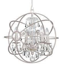 crystorama solaris 4 light clear crystal silver mini chandelier