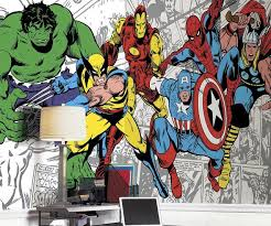 on marvel comic book wall mural with marvel classic characters wall mural
