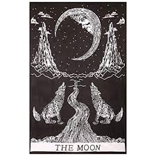 gokul handloom crying wolf of the moon tapestry wall hanging bohemian bed sheet ethnic wall art on black art tapestry wall hangings with amazon gokul handloom crying wolf of the moon tapestry wall