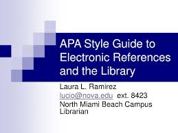 Ppt Apa Style Guide To Electronic References And The Library