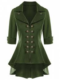 outfit double ted short flare trench coat army green l