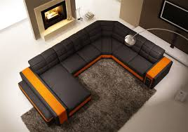 U Shaped Couch Living Room Furniture Davina Leather Corner Sofa With Left Hand Chaise In Black Orange