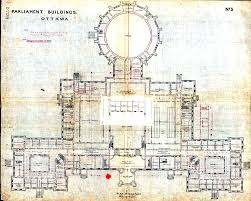 a ground floor plan of the original centre block shows the positions of the commons and senate chambers in the centre of the building to either side of an