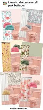 to decorate an all pink tile bathroom