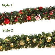 2.7m Christmas garland green with red/gold bows lights ornaments Christmas  decorations for home