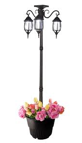 66 Ft 79 In Tall Solar Lamp Post And Planter 3 Heads White Leds Black