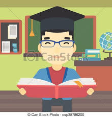 graduate with book in hands vector ilration