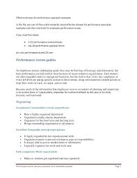 Review Examples For Employees Employee Performance Evaluation Template Form Staff Review Goals For