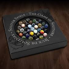 Wooden Game With Marbles Venetian Glass Marble Solitaire Game Wooden Board Peg Puzzle 64