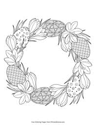 Easter Wreath Coloring Page Printable Easter Coloring Ebook