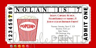 Invitation Ticket Template Movie Ticket Invitations Movie Ticket Printable Birthday Invitation 58