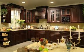 Kitchen Cherry Cabinets Kitchen Pretty Dark Cherry Cabinets Click A Picture For Larger
