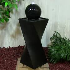 Solar Powered Granite Trio Water Feature With LED Lights Solar Powered Water Feature With Lights