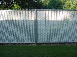 chain link fence residential galvanized with white privacy slats