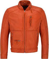 Discount Designer Mens Leather Jackets Mens Leather Jacket Orange Classic Zip Collar Designer 100 Real Napa 9056