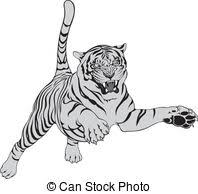 running tiger clipart black and white. Running Tiger Clipart Black And White For