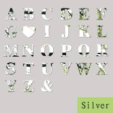 mirror wall sticker decoration silver 26 letters wall stickers decal diy art mural home decor acrylic decals silver adhesive wall stickers affordable wall