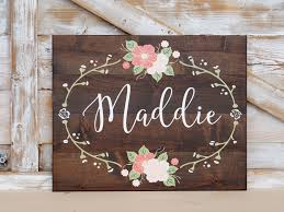 custom name sign nursery wall art hand painted flowers shabby chic baby girl personalized baby gift on etsy personalized baby wall art with custom name sign nursery wall art hand painted flowers shabby chic