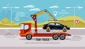 Car Service Infographic, Auto Towing, Tow Truck For Transportation ...