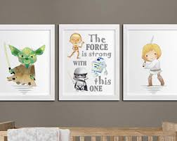 >star wars quote the force is strong with this one modern kids star wars nursery printable art set printable nursery yoda quote star wars kids room wall art the force is strong decor download