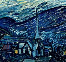 van gogh painting detail of the starry night by vincent van gogh