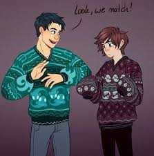 Percy and Nico in their Christmas sweaters!! This is reminding me ...