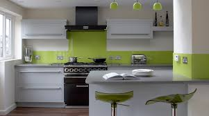 Splashback For Kitchens Linear Kitchen With Lime Green Splashback From Harvey Jones