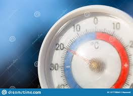 Freezing Temperature Outdoor Thermometer With Celsius Scale Showing Severe Freezing