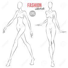 Vector Outline Girl Model Template For Fashion Sketching Illustration