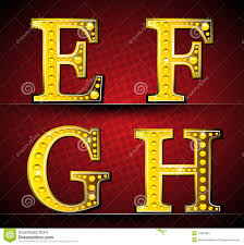 Set Letters With Gold Led Lamp Stock Vector Illustration Of Letter