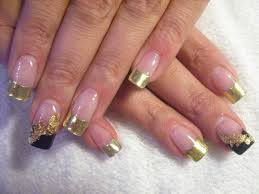Gold French Tip Nail Designs | Gold french nails, | Hair/beauty ...