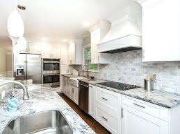 Backsplash For Marble Countertop White Cabinet Kitchen With And Tile Mini  Pendant Lighting What Goes Carrara Cabinets Countertops R40
