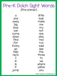 Dolch Sight Word List Pre Primer By Sarah Griffin Tpt