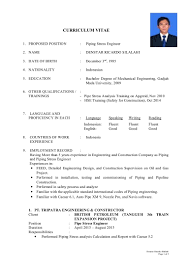 Piping Stress Engineer Sample Resume Resume Cv Cover Letter