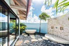 Bathroom:Interesting Outdoor Bathroom Ideas With Square White Bathtub And  Double White Sink Amazing Outdoor