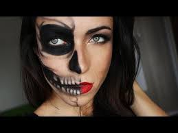 half skull half glamour makeup tutorial makeupandartfreak