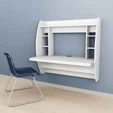 Furniture: Inspiring White Floating Desk With Shelf And Blue Armless Chair  - Corner Floating Desk