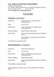 Confortable Resume For Mechanical Engineer Fresh Graduate Your Of