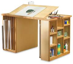 it would be a great craft table art studio furniture love the space for artwork storage and addition of drafting top
