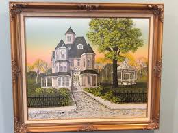beautiful h hargrove oil painting of victorian house on canvas 27 3 4 x 24