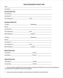 template for emergency contact information 8 sample emergency contact forms pdf doc